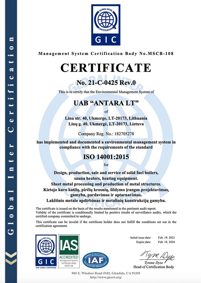 Antara ISO sertifikatas